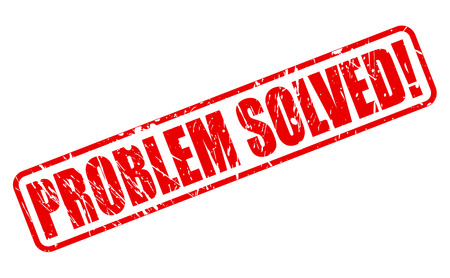 Problem solved red stamp text on white