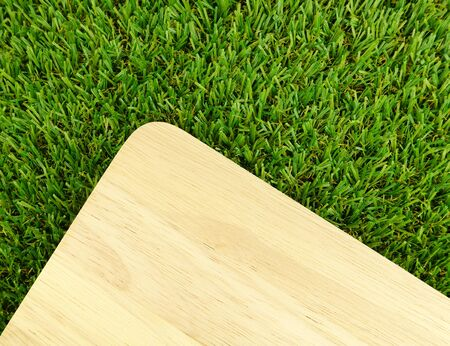 wood grass: Wood board on green grass background Stock Photo