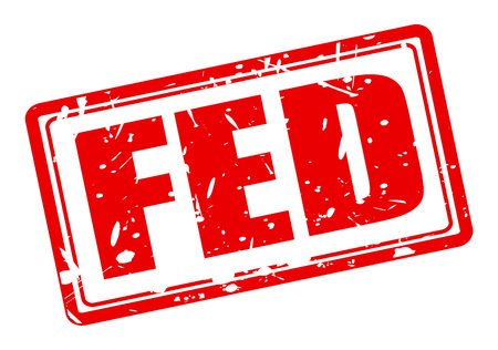 federal reserve: FED red stamp text on white (Federal Reserve System) Stock Photo