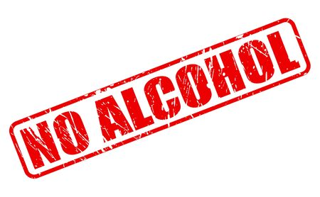 no alcohol: NO ALCOHOL red stamp text on white