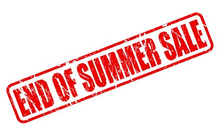 end of summer: End of summer sale red stamp text on white Stock Photo