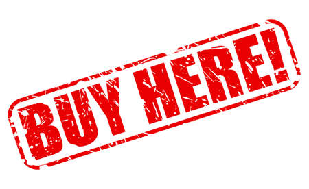 presently: Buy here red stamp text on white Stock Photo
