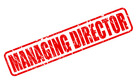 managing: MANAGING DIRECTOR red stamp text on white Stock Photo