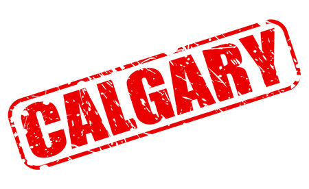 canada stamp: CALGARY red stamp text on white (City in Alberta, Canada)