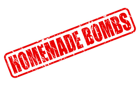 arsonist: Home Made Bombs red stamp text on white