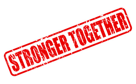 stronger: Stronger Together red stamp text on white