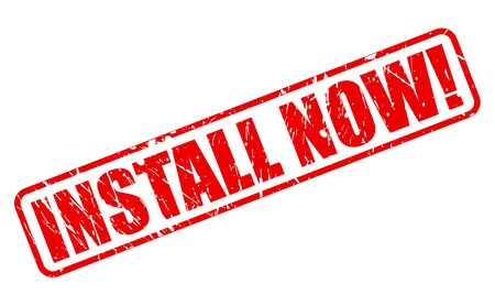 install: Install Now red stamp text on white