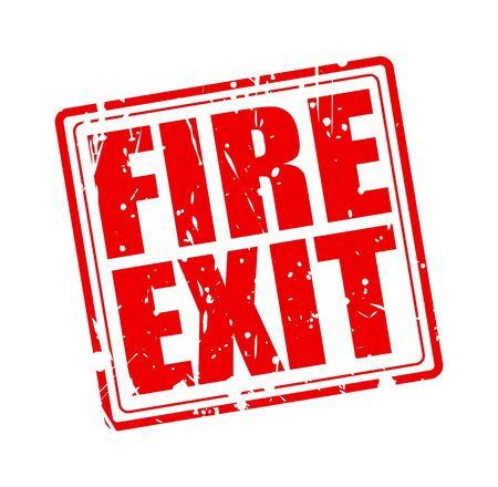 peril: Fire Exit red stamp text on white