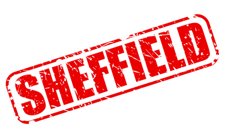 sheffield: SHEFFIELD red stamp text on white Stock Photo