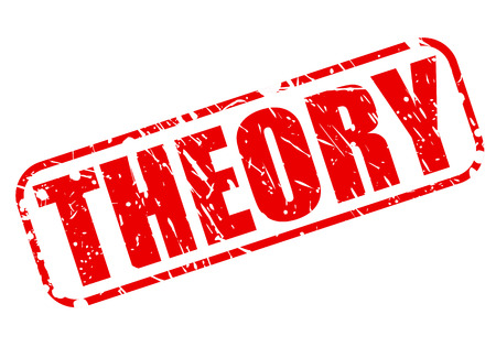 THEORY red stamp text on white Stockfoto