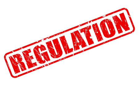 regulated: REGULATION red stamp text on white