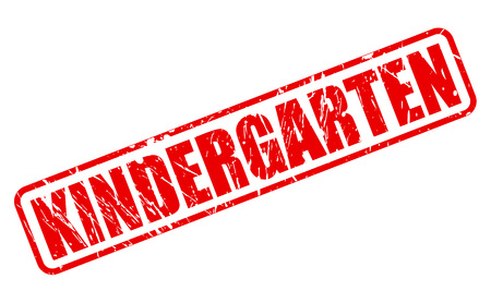 creche: KINDERGARTEN red stamp text on white Stock Photo