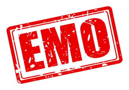 emo: EMO red stamp text on white Stock Photo