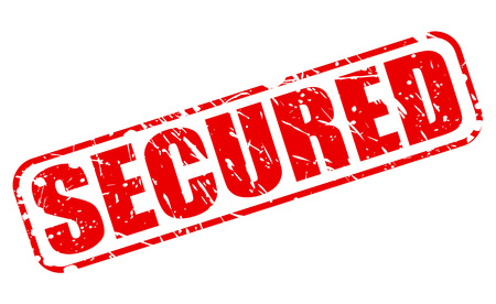secured: Secured red stamp text on white