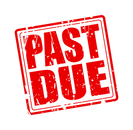 past due: Past due red stamp text on white Stock Photo