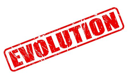 EVOLUTION red stamp text on white