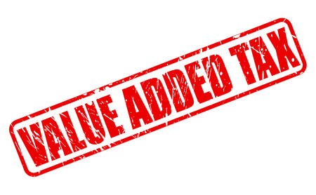 levy: VALUE ADDED TAX red stamp text on white Stock Photo