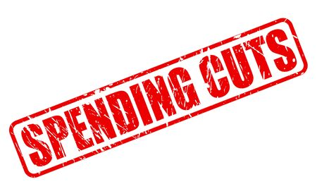 spending: SPENDING CUTS red stamp text on white