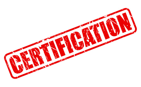 credential: CERTIFICATION red stamp text on white