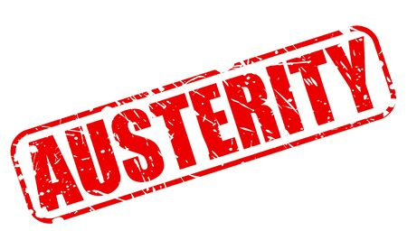 austerity: AUSTERITY red stamp text on white