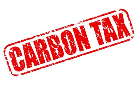 levied: CARBON TAX red stamp text on white