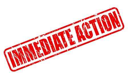 immediate: IMMEDIATE ACTION red stamp text on white Stock Photo