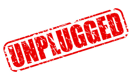 unplugged: UNPLUGGED red stamp text on white