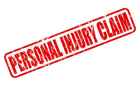 insure: PERSONAL INJURY CLAIM red stamp text on white