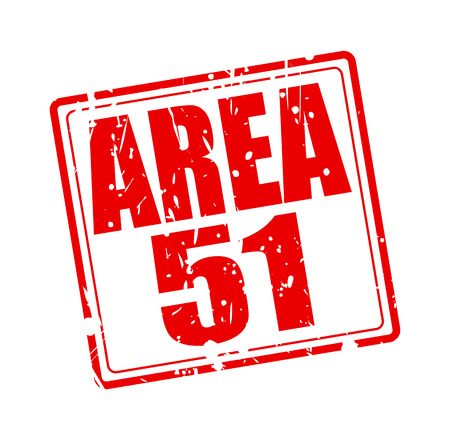 ufo conspiracy theory: Area 51 red stamp text on white