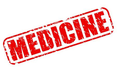 medicated: MEDICINE red stamp text on white