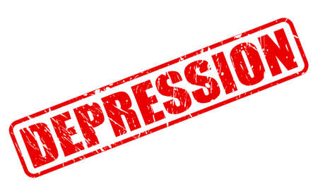 despondency: DEPRESSION red stamp text on white