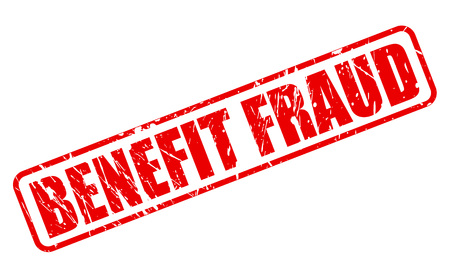 fraud: BENEFIT FRAUD red stamp text on white Stock Photo