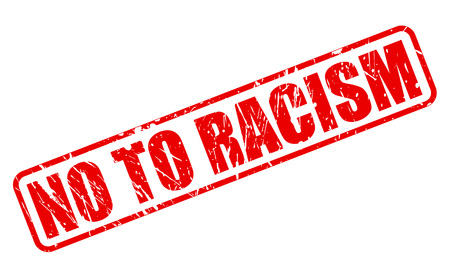 sectarian: No to racism red stamp text on white