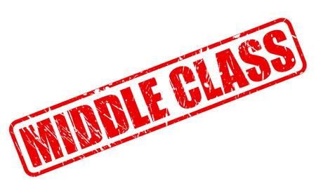 middle class: CLASE MEDIA texto del sello rojo sobre blanco Foto de archivo