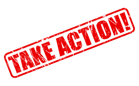 take action: Take Action red stamp text on white