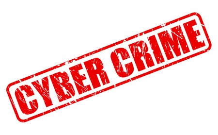 criminal activity: Cyber Crime red stamp text on white Stock Photo