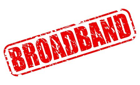 isp: BROADBAND red stamp text on white Stock Photo
