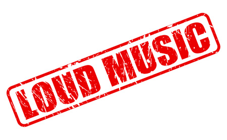 loud music: Loud Music red stamp text on white Stock Photo