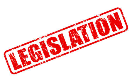 legislation: LEGISLATION red stamp text on white Stock Photo