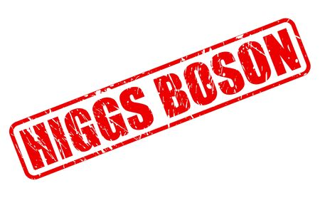 HIGGS BOSON red stamp text on white Stock Photo