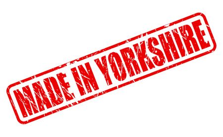 english countryside: Made in yorkshire red stamp text on white Stock Photo