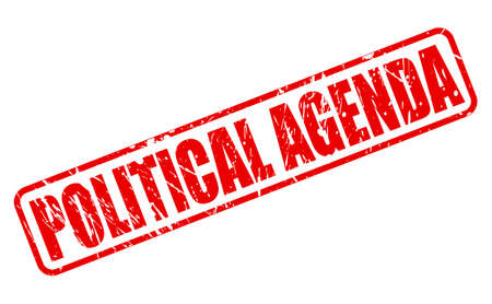 viewpoints: POLITICAL AGENDA red stamp text on white Stock Photo