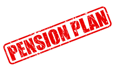 pension: PENSION PLAN red stamp text on white