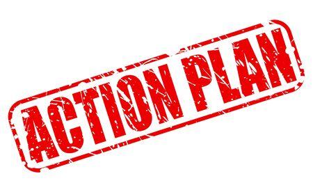plan de accion: PLAN DE ACCI�N texto del sello rojo sobre blanco Foto de archivo