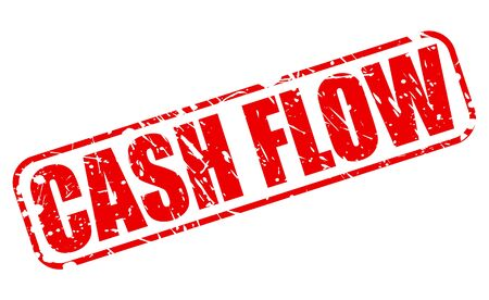 outgoings: CASH FLOW red stamp text on white Stock Photo