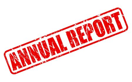 year financial statements: ANNUAL REPORT red stamp text on white Stock Photo