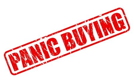 looting: PANIC BUYING red stamp text on white