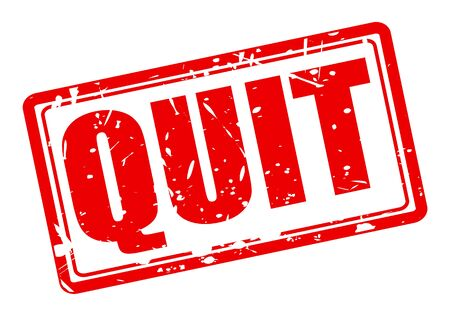 quit: QUIT red stamp text on white