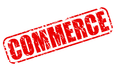 retailing: COMMERCE red stamp text on white Stock Photo