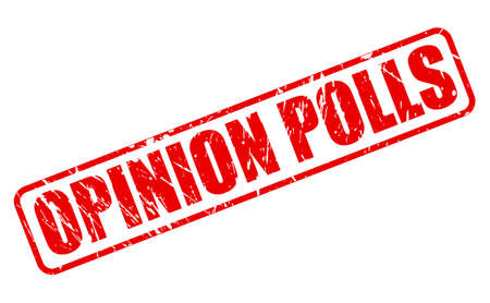 viewpoints: OPINION POLLS red stamp text on white Stock Photo